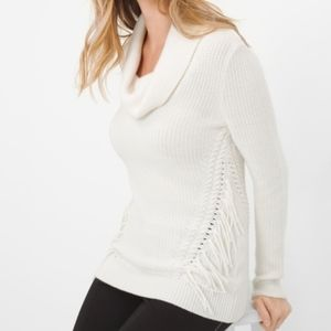 WHBM Ivory Fringe Cowl Neck Sweater